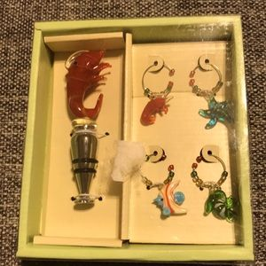 4 pc set of glass charms and cork
